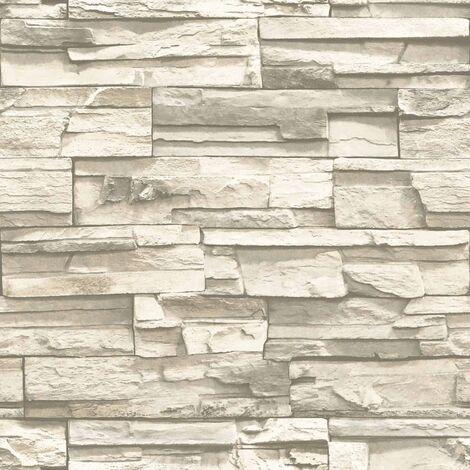 RoomMates Papel de pared adhesivo de piedra natural beige RMK9026WP - Beige