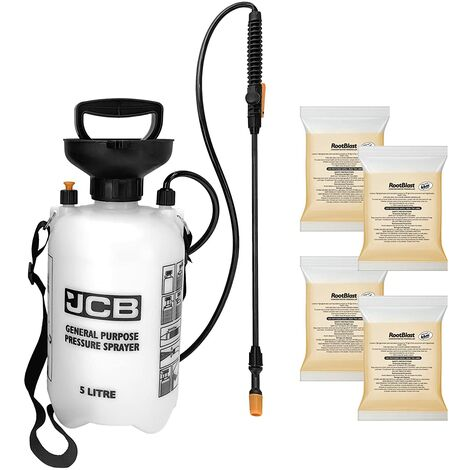 """main image of """"Rootblast - 4 x 100ml Concentrated Weedkiller - 5L JCB Garden Sprayer - Glyphosate Weedkiller - Covers up to 66 sqm.per sachet"""""""