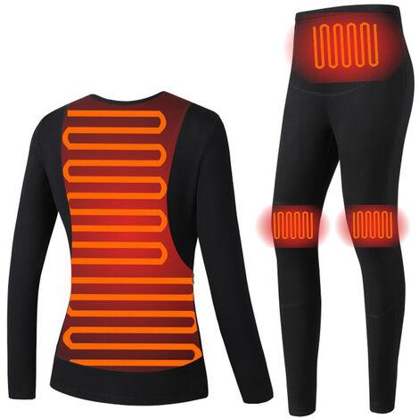 Ropa inteligente de calefaccion constante inteligente de temperatura traje de invierno climatizada interior USB ropa caliente Negro ropa interior termica mujeres, XL Traje