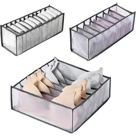 Ropa interior plegable caja de almacenamiento Inicio Uso gaveta de almacenamiento divisor de malla de cuadricula Organizador de la ropa interior / Bras / calcetines, Gris, 3 piezas