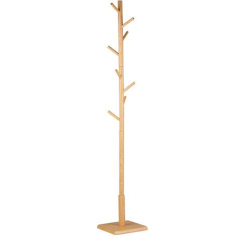 Ropa reunidos rack cilindricos 8-Branch Percha de madera de pino estante de la ropa con la capa de base cuadrada multifuncional perchero estante de la suspension de interior para el dormitorio Cuarto de vestir Oficina Estudio