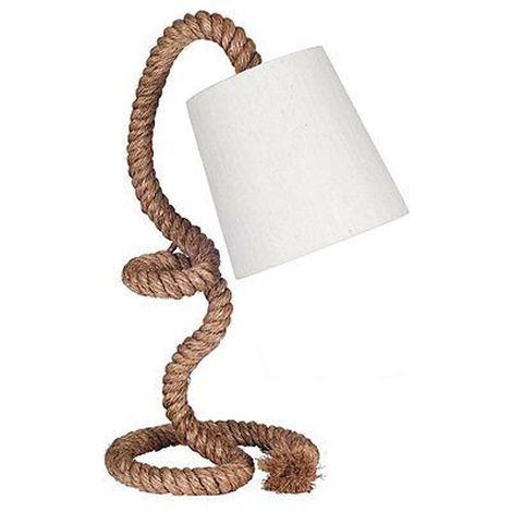 Rope Task Table Lamp Complete with Natural Shade Coastal Feel