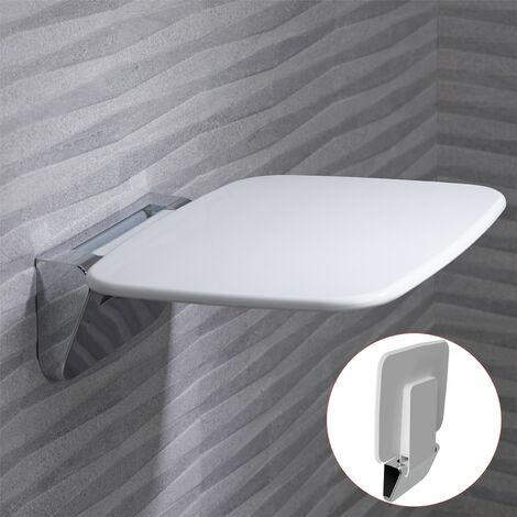 Roper Rhodes Premium Wall Mounted Shower Seat Fold Away Compact Chrome White