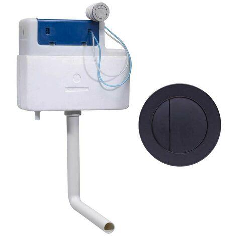 Roper Rhodes Torrent Concealed Dual Flush WC Toilet Cistern + Round Black Plate