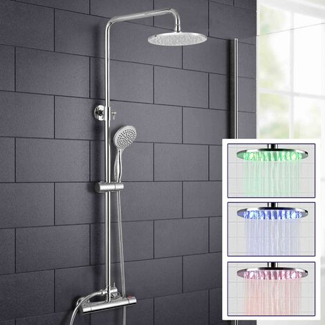 Rosa LED Chrome Round Shower Head Thermostatic Dual Control Bar Shower Mixer