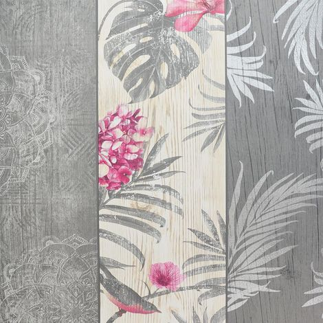Rosa Panel Birds Motif Luxury Wallpaper Belgravia Grey Blush Charcoal