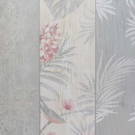 Rosa Panel Birds Motif Luxury Wallpaper Belgravia Grey Blush from YöL