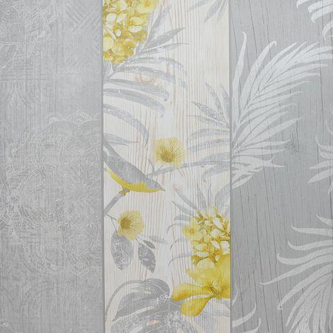 Rosa Panel Birds Motif Luxury Wallpaper Belgravia Yellow Grey from YöL