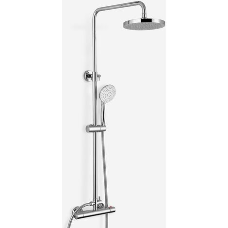 Rosa Round Exposed Thermostatic Dual Control Shower Mixer - Riser Rail Kit & Easy Fittings