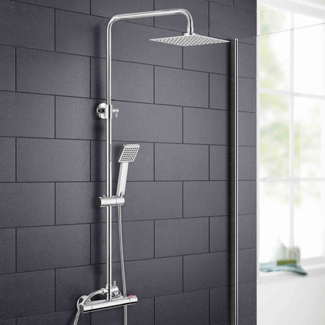Rosa Thermostatic Slim Modern Shower Mixer Chrome Bathroom Square Head