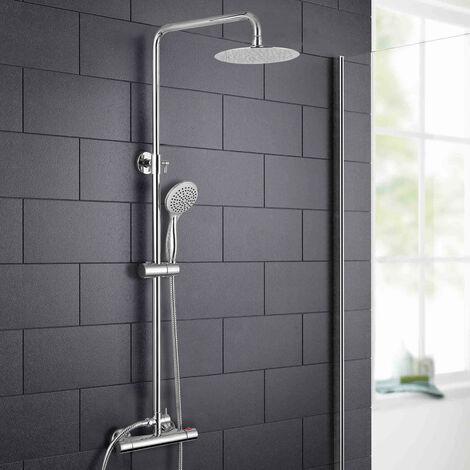 Rosa Thermostatic Slim Shower Mixer Chrome Bathroom Round Head