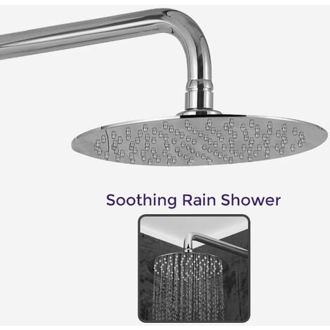 Rosa Thermostatic Slim Shower Mixer Chrome Bathroom Round Head