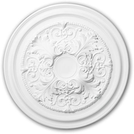 Rosace 156001 Profhome Élement pour plafond Élement décorative style Néo-Classicisme blanc Ø 69,5 cm