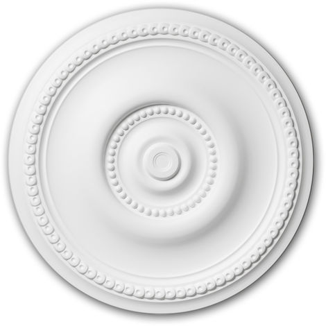 Rosace 156002 Profhome Élement pour plafond Élement décorative style Art Nouveau blanc Ø 52 cm