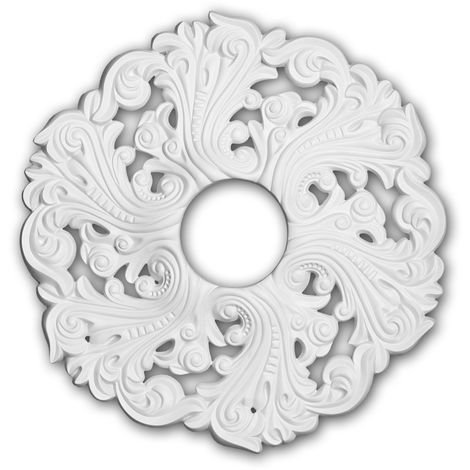 Rosace 156003 Profhome Élement pour plafond Élement décorative style Rococo-Baroque blanc Ø 52 cm