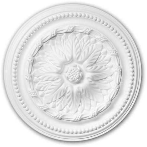 Rosace 156007 Profhome Élement pour plafond Élement décorative style Néo-Empire blanc Ø 40 cm