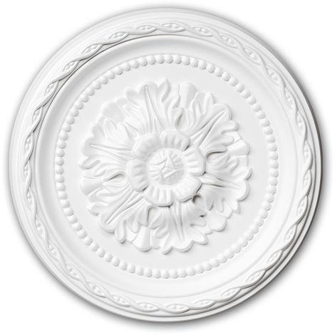 Rosace 156009 Profhome Élement pour plafond Élement décorative style Néo-Renaissance blanc Ø 29,3 cm