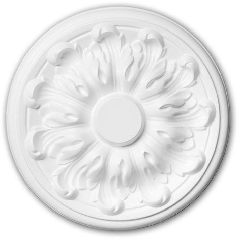Rosace 156010 Profhome Élement pour plafond Élement décorative style Néo-Classicisme blanc Ø 19,3 cm