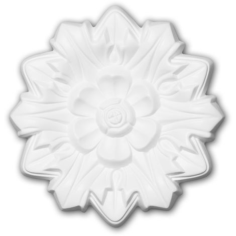 Rosace 156011 Profhome Élement pour plafond Élement décorative style Néo-Renaissance blanc Ø 19,8 cm