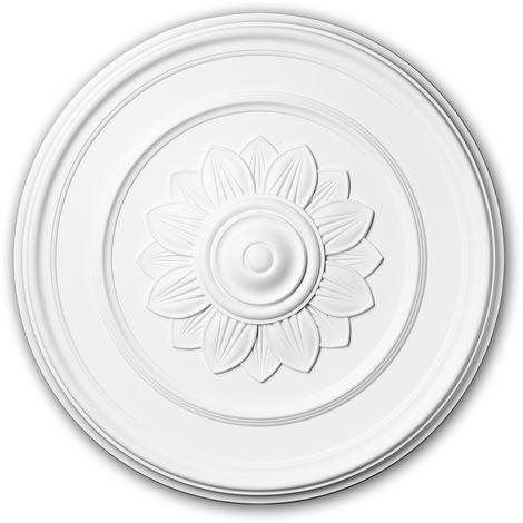 Rosace 156012 Profhome Élement pour plafond Élement décorative style Art Nouveau blanc Ø 53,3 cm