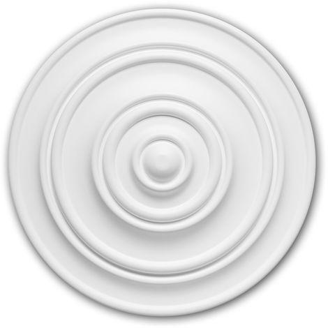 Rosace 156014 Profhome Élement décorative Élement pour plafond design intemporel classique blanc Ø 34 cm