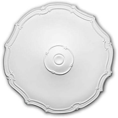 Rosace 156016 Profhome Élement décorative Élement pour plafond style Art Nouveau blanc Ø 48 cm