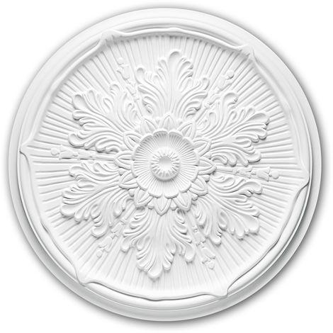 Rosace 156022 Profhome Élement décorative Élement pour plafond style Néo-Renaissance blanc Ø 52,5 cm