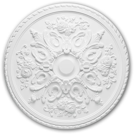 Rosace 156025 Profhome Élement décorative Élement pour plafond style Rococo-Baroque blanc Ø 82 cm