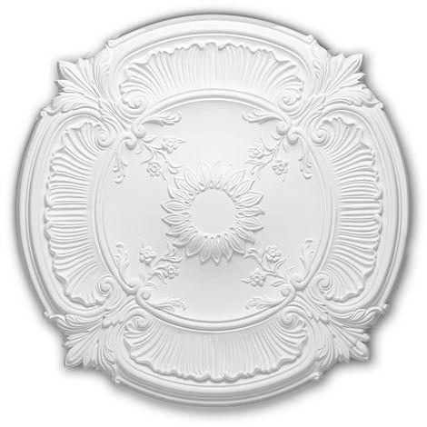 Rosace 156026 Profhome Élement décorative Élement pour plafond style Néo-Renaissance blanc Ø 77 cm