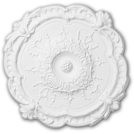 Rosace 156027 Profhome Élement décorative Élement pour plafond style Rococo-Baroque blanc Ø 38,3 cm