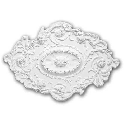 Rosace 156029 Profhome Élement décorative Élement pour plafond style Rococo-Baroque blanc 76,7 x 53,2 cm