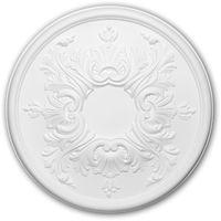 Rosace 156030 Profhome Élement décorative Élement pour plafond style Rococo-Baroque blanc Ø 39,5 cm
