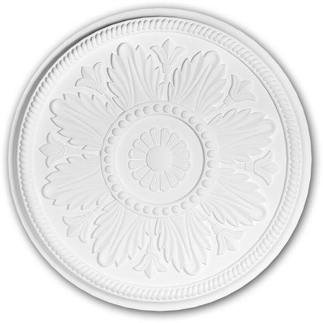 Rosace 156033 Profhome Élement décorative Élement pour plafond style Néo-Classicisme blanc Ø 46 cm