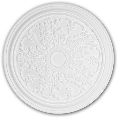 Rosace 156034 Profhome Élement décorative Élement pour plafond style Néo-Classicisme blanc Ø 51,2 cm