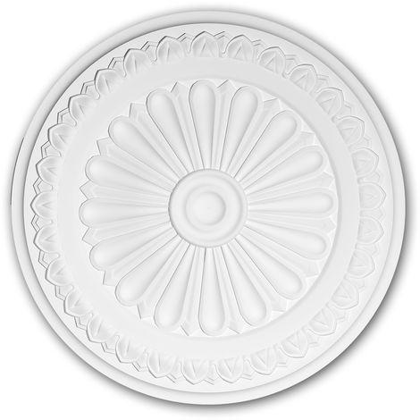 Rosace 156037 Profhome Élement décorative Élement pour plafond style Néo-Classicisme blanc Ø 33 cm