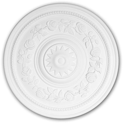 Rosace 156038 Profhome Élement décorative Élement pour plafond style Rococo-Baroque blanc Ø 40 cm