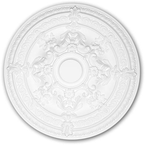 Rosace 156039 Profhome Élement décorative Élement pour plafond style Rococo-Baroque blanc Ø 65,9 cm