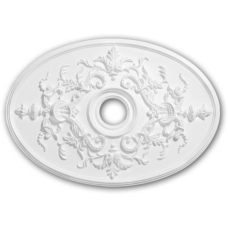 Rosace 156041 Profhome Élement décorative Élement pour plafond style Néo-Empire blanc 78,5 x 54,4 cm