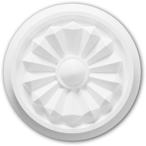 Rosace 156042 Profhome Élement décorative Élement pour plafond design intemporel classique blanc Ø 20,3 cm