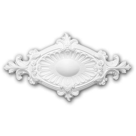 Rosace 156043 Profhome Élement décorative Élement pour plafond style Néo-Empire blanc 58,5 x 31,5 cm
