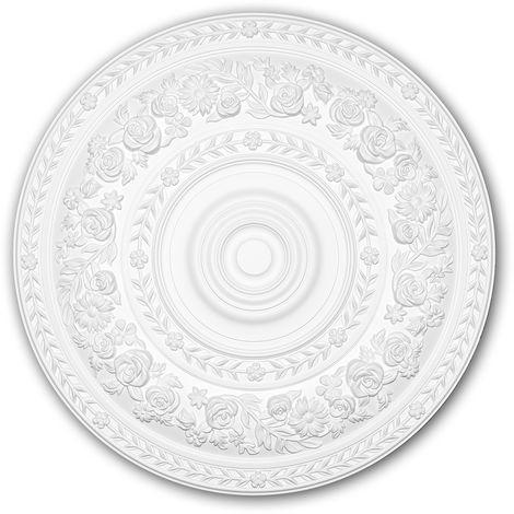 Rosace 156046 Profhome Élement décorative Élement pour plafond style Rococo-Baroque blanc Ø 86 cm