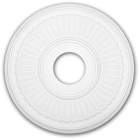 Rosace 156047 Profhome Élement décorative Élement pour plafond style Néo-Classicisme blanc Ø 40,4 cm