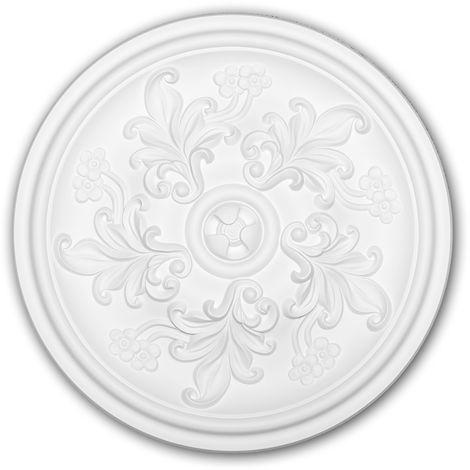Rosace 156048 Profhome Élement décorative Élement pour plafond style Rococo-Baroque blanc Ø 36,4 cm