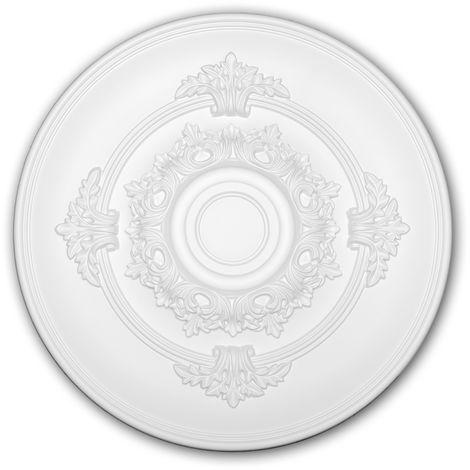 Rosace 156049 Profhome Élement décorative Élement pour plafond style Néo-Empire blanc Ø 34,6 cm