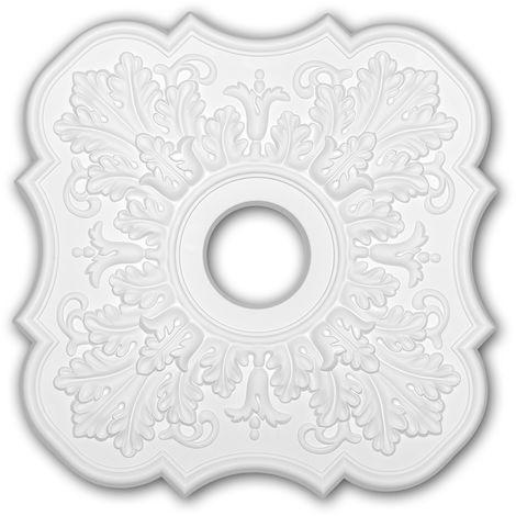 Rosace 156053 Profhome Élement décorative Élement pour plafond style Néo-Classicisme blanc 52,2 x 52,2 cm