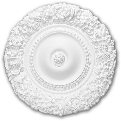 Rosace 156057 Profhome Élement décorative Élement pour plafond style Rococo-Baroque blanc Ø 54,5 cm