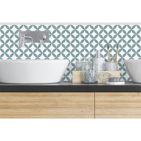 Rosace Bleu | Crédence salle-de-bain en PVC Carreaux de ciment bleus - Lot de 2 bandeaux L70xH30cm