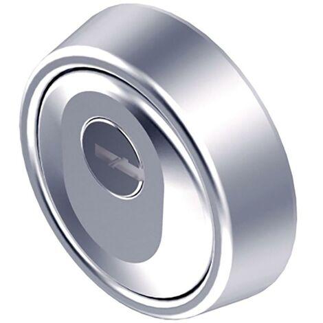 Rosace de haute sécurité pour cylindre Ø 65X24/17Mm Acier massif carbonitruré chromé Br