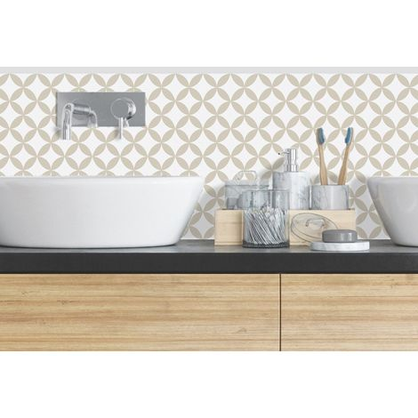 Rosace Sable | Crédence salle-de-bain en PVC Carreaux de ciment sables - Lot de 2 bandeaux L70xH30cm