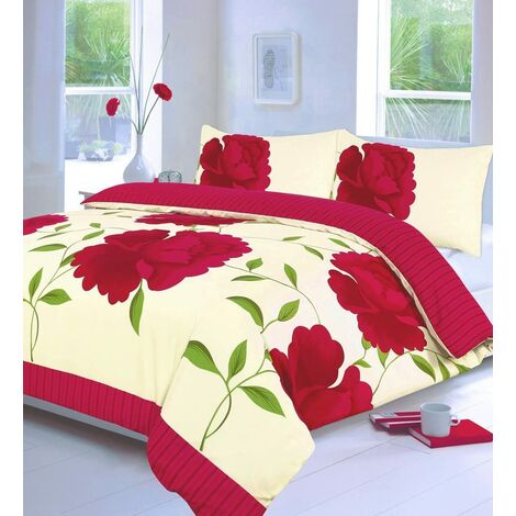 Rosaleen Floral Bedding Fuchsia Double Duvet Cover Set